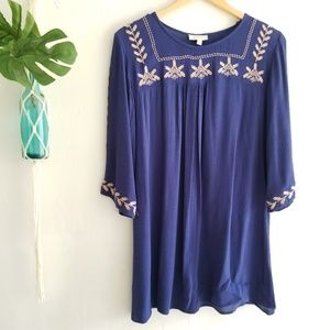 Umgee Navy blue boho chic embroidered shift dress